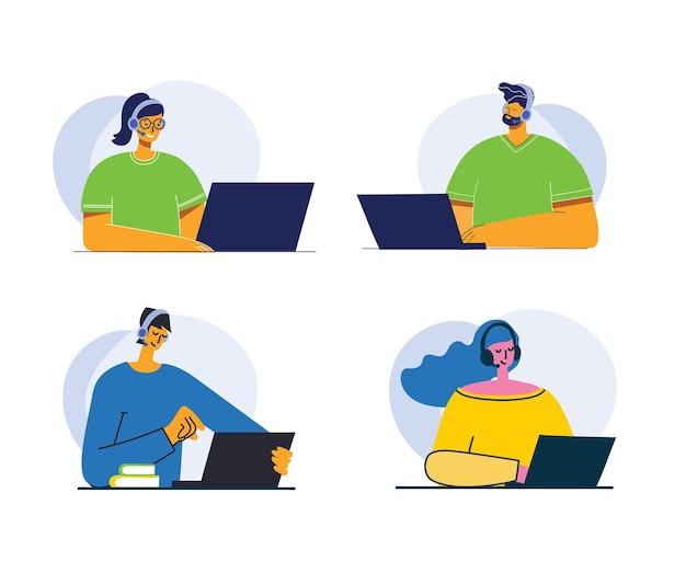 Przystojny Biznesmen I Bizneswoman I Mężczyzna Z Napisem Skontaktuj Się Z Nami. Postać Z Kreskówki. Premium Wektorów