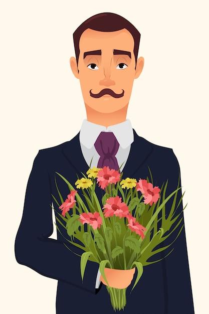 Przystojny dżentelmen trzyma bukiet kwiaty Premium Wektorów