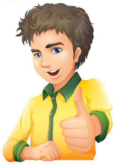 Przystojny Młody Człowiek Pokazuje Ręka Sygnał Darmowych Wektorów