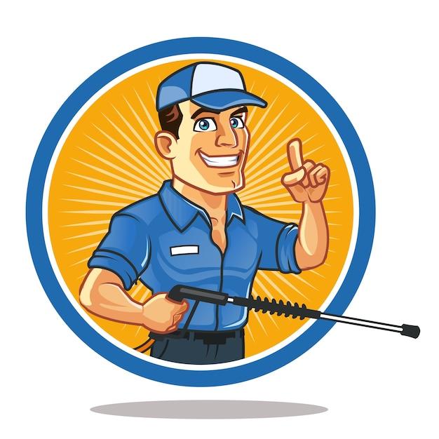 Przystojny Złota Rączka Niosący Spray Kreskówka Maskotka Logo Premium Wektorów