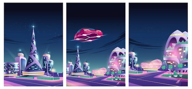 Przyszła Nocna Ilustracja Miasta Z Latającym Samochodem I Futurystycznymi Neonami świecącymi Szklanymi Budynkami Darmowych Wektorów