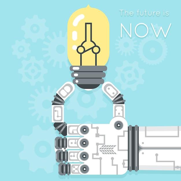 Przyszłość Jest Teraz. Ręka Robota Trzymająca żarówkę. Kreatywność W Zakresie Energii Elektrycznej, Innowacje Sprzętowe Darmowych Wektorów