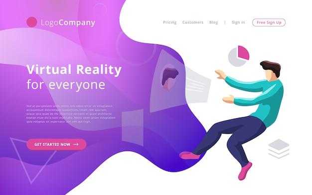 Przyszły człowiek technologii do wirtualnej rzeczywistości dotykania i edytowania szablonu strony internetowej interfejsu Premium Wektorów