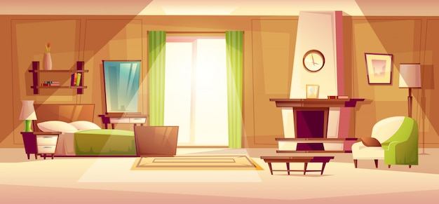Przytulna nowoczesna sypialnia, salon z podwójnym łóżkiem, kominkiem, fotelem. Darmowych Wektorów