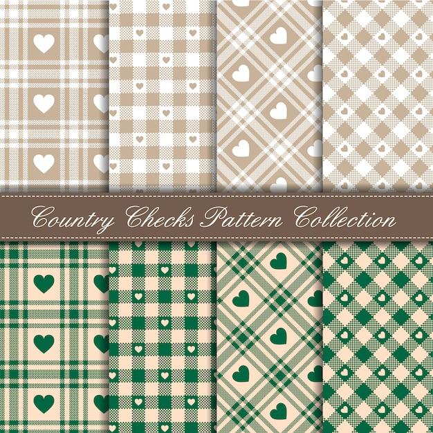Przytulna Wiejska Bawełniana Kraciasta Kolekcja W Serce W Zielono-beżowy Wzór Premium Wektorów