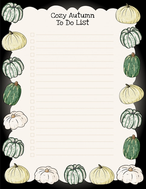 Przytulny jesienny tygodniowy terminarz i lista rzeczy do zrobienia z modnym ornamentem dyni Premium Wektorów