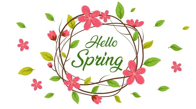 Przywitaj Wiosnę Koło, Tło Sprzedaż Wiosna, Baner Wiosna Premium Wektorów