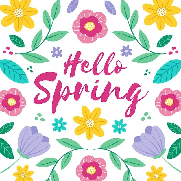 Przywitaj Wiosnę Koncepcja Napis Darmowych Wektorów
