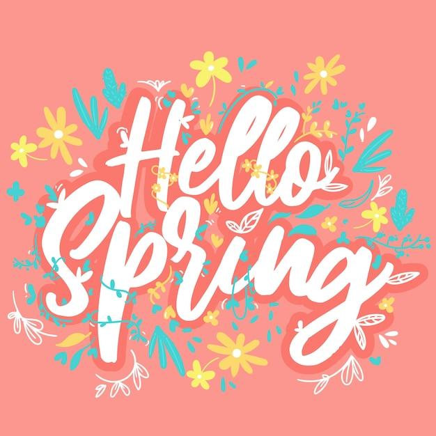 Przywitaj Wiosnę Kwiatowy Tło Darmowych Wektorów