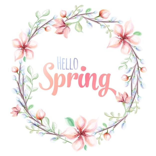 Przywitaj Wiosnę Ręcznie Rysowane Akwarela Ilustracja. Kartkę Z życzeniami Z Wieńcem Kwiatów Akwarela. Premium Wektorów