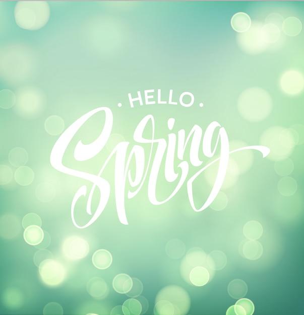 Przywitaj Wiosnę Z Bokeh I Odręcznym Napisem. Premium Wektorów