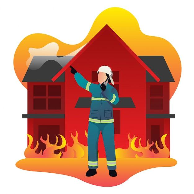Przywódca Straży Pożarnej Kieruje Podwładnymi, Gdy Ogień Pali Klasyczny Dom Premium Wektorów