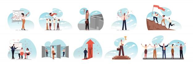 Przywództwo, Zespół, Wielozadaniowość, Szkolenie, Sukces, Cel, Spotkanie, Biznes Zestaw Koncepcji Premium Wektorów