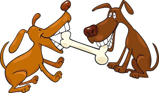 Psy Bawiące Się Kością Premium Wektorów