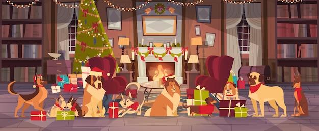 Psy W Czapkach Mikołaja W Salonie Z Ozdobną Sosną, Wesołych świąt I Szczęśliwego Nowego Roku Premium Wektorów