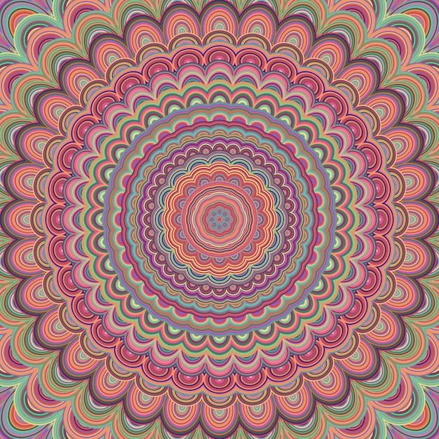 Psychodeliczny Mandala Ozdoba Tle - Okrągły Wzór Wektora Wzoru Z Koncentrycznych Owalnych Kształtów Premium Wektorów