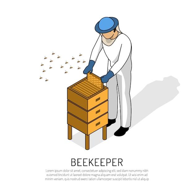 Pszczelarz W Odzieży Ochronnej Podczas Pracy Z Roju Pszczół Na Biały Izometryczny Darmowych Wektorów