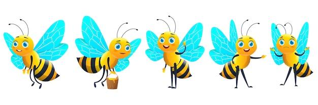 Pszczoła Kreskówka Z Zestawem Miodu Premium Wektorów