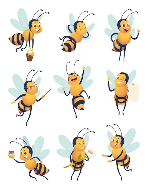 Pszczoła Miodna. Postaci Z Kreskówek Latający Owad Natura W Różnych Pozach Maskotka Wektor Dostawy Pszczoły. Latający Owad Pszczoły, Maskotka Stanowią Ilustracja Pszczelarstwa Premium Wektorów
