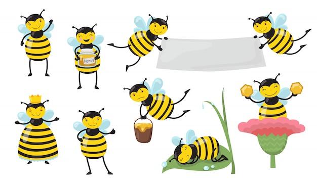 Pszczoła śmieszne Kreskówki W Zestawie Różnych Działań Darmowych Wektorów