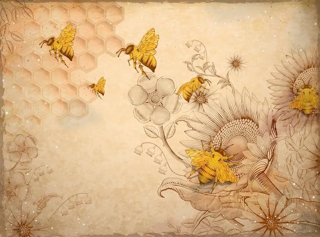 Pszczoły Miodne I Kwiaty, Retro Ręcznie Rysowane Akwaforta Cieniowanie Elementy Stylu, Beżowe Tło Premium Wektorów