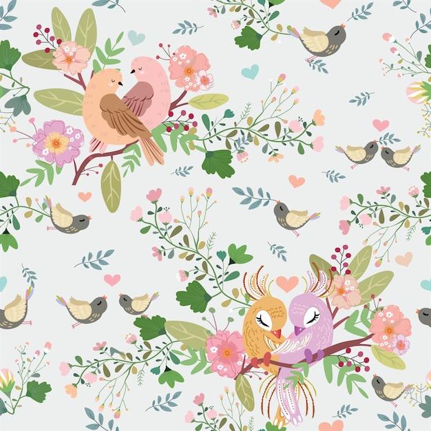 Ptak i kwiatowy wzór w lesie. Premium Wektorów