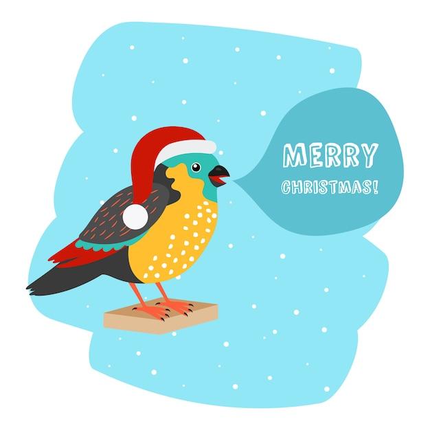 Ptak Z Santa Hat Boże Narodzenie Szablon Samochodu Premium Wektorów