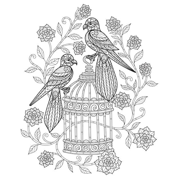 Ptaki I Kwiaty. Ręcznie Rysowane Szkic Ilustracji Dla Dorosłych Kolorowanka. Premium Wektorów