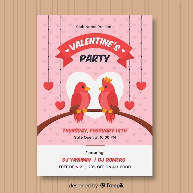 Ptaki na oddział valentine party plakat Darmowych Wektorów
