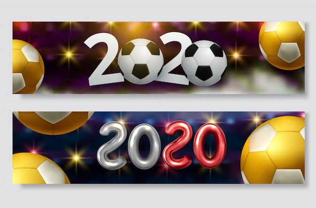Puchar piłki nożnej, zestaw banner mistrzostw piłki nożnej Premium Wektorów
