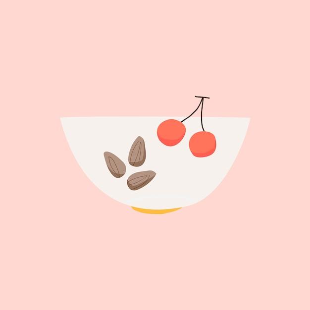 Puchar z migdałami i wiśni składnika zdrowym wektorem Darmowych Wektorów