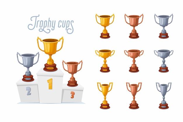 Puchary Trofeum Na Podium. Złote, Srebrne I Brązowe Puchary Z Nagrodami W Różnych Kształtach Premium Wektorów