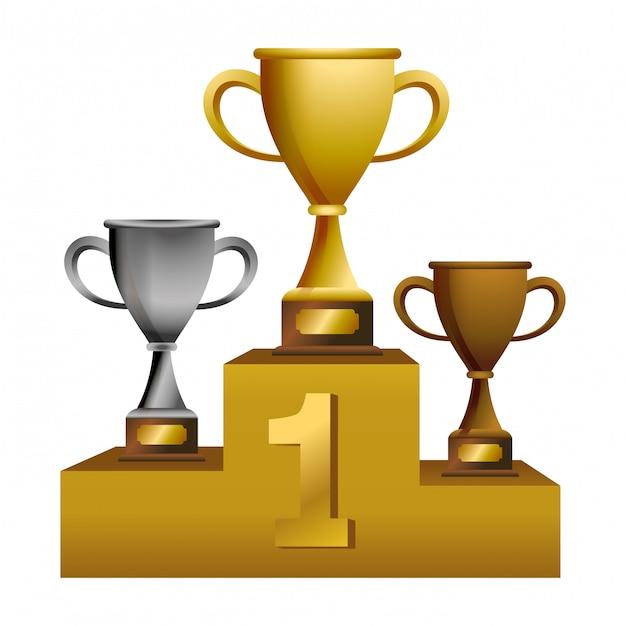 Puchary Trofeum Na Podium | Premium Wektor