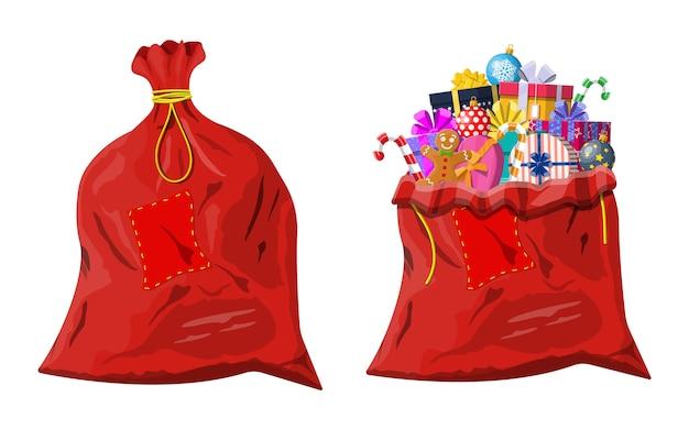 Pudełka Prezentowe W Tradycyjnej Czerwonej Torbie Premium Wektorów