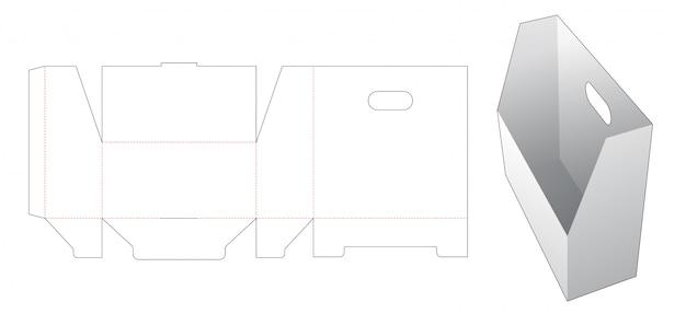 Pudełko Do Przechowywania Dokumentów Z Szablonem Wycinanym Uchwytem Premium Wektorów