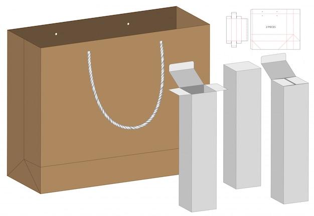 Pudełko I Torebka Z Wycinanym Szablonem Premium Wektorów