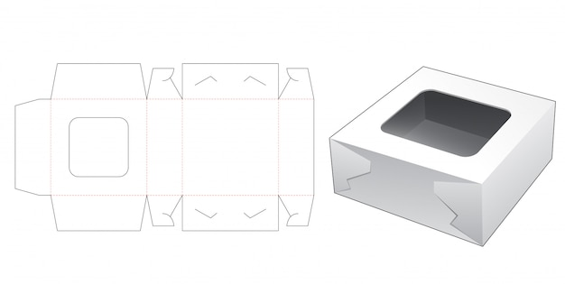 Pudełko Na Ciasto Z Szablonem Wycinanym W Górnym Oknie Premium Wektorów