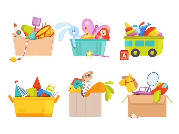 Pudełko Na Zabawki. Autko Dla Dzieci Rakieta Piłka Nożna Miś Prezenty Dla Dzieci Kolekcja Pakietów Premium Wektorów