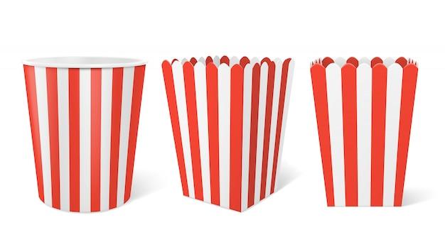 Pudełko Papierowe W Paski Na Popcorn W Kinie Darmowych Wektorów