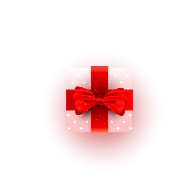 Pudełko Prezentowe Niespodzianka Owinięte Różowym Papierem, Czerwoną Wstążką I Piękną Jedwabną Kokardką Premium Wektorów