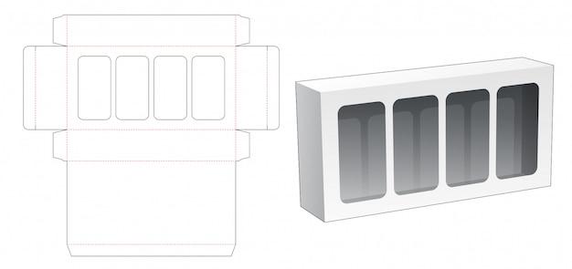 Pudełko Z 4 Wyciętymi Matrycami Premium Wektorów