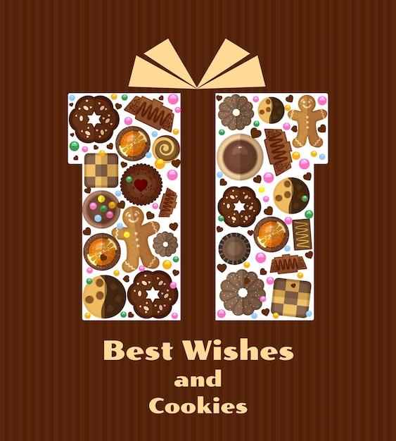 Pudełko Z Ilustracją Plików Cookie Darmowych Wektorów