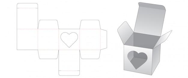 Pudełko Z Oknem W Kształcie Serca Wycinanym Szablonem Premium Wektorów