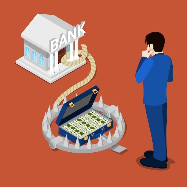 Pułapka Bankowa. Bank Izometryczny. Kredyt Bankowy. Biznesmen Myśli O Kredycie. Premium Wektorów