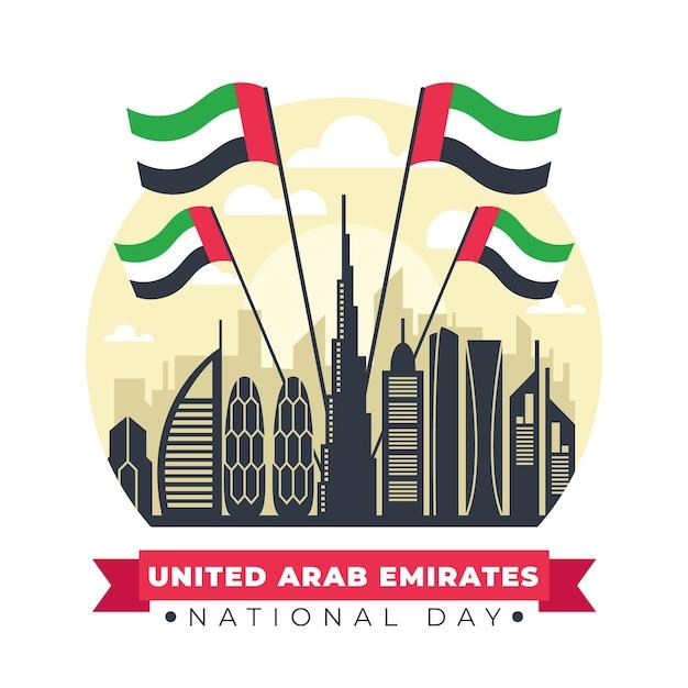 Punkt Orientacyjny Dnia świętowania Zjednoczonych Emiratów Arabskich Darmowych Wektorów