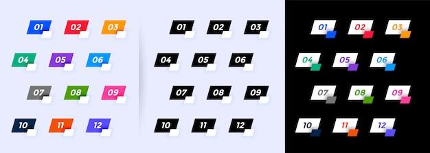 Punktory W Stylu Geometrycznym Mają Numery Od Jednego Do Dwunastu Darmowych Wektorów