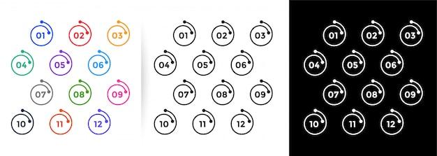 Punktory W Stylu Linii Spiralnej Mają Numery Od Jednego Do Dwunastu Darmowych Wektorów