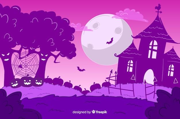 Purpurowe ręcznie rysowane tła halloween Darmowych Wektorów