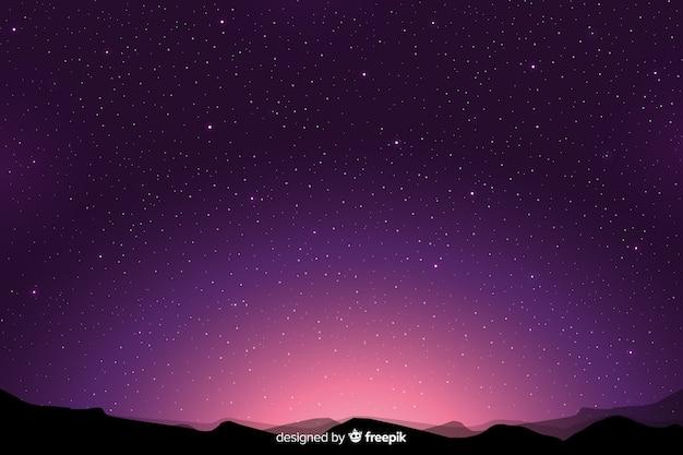 Purpurowy gradient gwiaździstej nocy tło Darmowych Wektorów