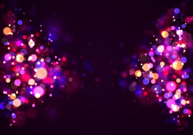 Purpurowy I Złoty świecący Tło, Zaświeca Bokeh. Premium Wektorów